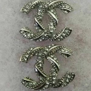 authentic Chanel CC silver stud earrings